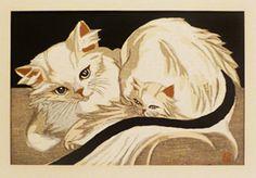 Junichiro Sekino (1914-1988). Mother Angora Cat With Kitten. c1950. Color woodblock print.