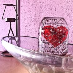 Valentines snow globe from glass jar