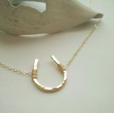 Lucky Necklace :: Gold filled horseshoe necklace on a gold chain via Etsy :: Love this lucky accessory