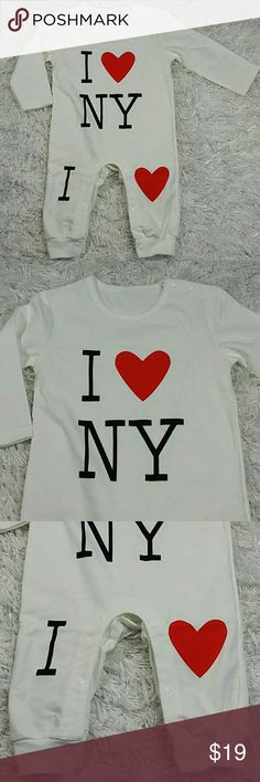 I Love NY  bodysuit. Kids Adorable  love NY bodysuit in white.  Snaps close  This item is brand new and never used. No tags One Pieces