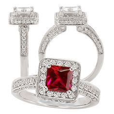 18k lab-grown 5.5mm princess cut ruby engagement ring with natural diamond halo