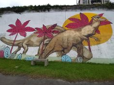 #Dinosaur Park (Huazhong Riverside Park) in In New #Taipei City, #Taiwan, is full of #dinosaurs. There are #sauropod and #stegosaur sculptures, a #Trex made of metal, and so many amazing #graffiti works of art. #iknowdino Dinosaur Park, Riverside Park, Taipei, Dinosaurs, Graffiti, Moose Art, Sculptures, Cartoon, Comics