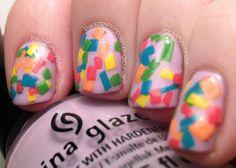 Confetti Squares Nail Art