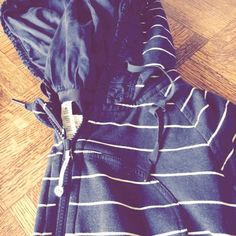 Lulu lemon navy stripe scuba hoodie Awesome hoodie and rare! Ribbon detail hood and lining super cute just didn't hit me right at hips lululemon athletica Jackets & Coats