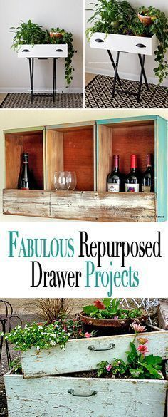 Fabulous Repurposed Drawer Projects • Tutorials and ideas for using old throwaway drawers for new purposes... And they are pretty, too! #repurposedfurniturechair