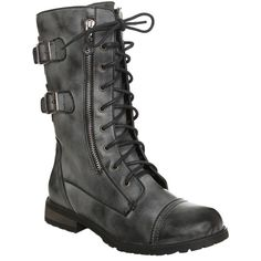 Grey Black Buckle Side Zip Boots | Hot Topic (135 RON) ❤ liked on Polyvore featuring shoes, boots, hot topic shoes, hot topic boots, side zip boots, gray shoes and grey shoes