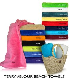 Beach towel with one side velour, 30x60 . This is our best selling promotional beach towel , available in 17 colors. This towel weighs 11.0 lbs. per dozen and has a nice dobby border finish. This is a great towel if you are buying quantities and are looking to save money.