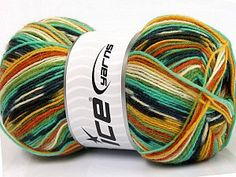 Super Sock Yellow White Orange Green Shades Black  Fiber Content 75% Superwash Wool, 25% Polyamide, Yellow, White, Orange, Brand Ice Yarns, Green Shades, Black, Yarn Thickness 1 SuperFine  Sock, Fingering, Baby, fnt2-51263 Ice Yarns, Sock Yarn, Orange, Yellow, Shades Of Green, Finger, Socks, Throw Pillows, Wool