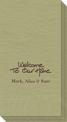 Welcome To Our Home Calligraphy Guest Towels