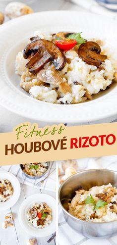 Klasické italské rizoto je sice velice chutné, ale také náročnější na přípravu, jelikož se rýže Arborio vaří postupných přidáváním vývaru, čímž vznikne krémová konzistence. Chutné krémové fitness varianty můžete ale dosáhnout i jednodušším a rychlejším postupem, a to s pomoci jasmínové rýže uvařené v rýžovaru a sýru cottage. A bílkoviny navyšte ještě kuřecím masem. Healthy Food, Healthy Recipes, Diet, Chicken, Fitness, Food, Healthy Foods, Healthy Eating Recipes, Healthy Eating