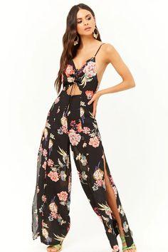 f2d659ce581 Product Name Floral Split-Leg Cutout Jumpsuit