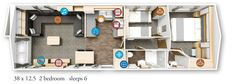 Willerby Granada 2016 38x12.5-2bed floor plan