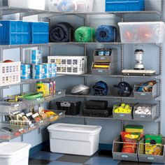 Platinum elfa Garage Storage    Yes, you can actually fit two cars in that two-car garage - with some help from The Container Store® and our best-selling elfa Shelving. Quickly installed on any wall, the elfa Ventilated Shelves defy dust and have the strength to support heavy items. The Shelves are completely adjustable, so you can change the location as your needs dictate.