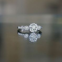 1.5 Ct Round Center (4mm Sides) Simulated Diamond-diamond Veneer® Three (3) Stones Ring. 635r71902 , simulated diamond wedding ring.