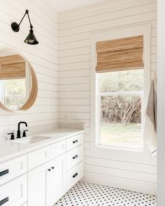 We LOVE a monochrome bathroom. Keeping the color palette limited feels super clean, sleek and really lets textures shine. @building.delight perfectly matched their light toned wood mirror with Blinds.com Woven Wood Shade in Zuma Flaxen.  #homedecor #interiordesign #bathroomdecor #minimalism #farmhousedecor #bathroomideas Bamboo Roman Shades, Woven Wood Shades, Morton Homes, Bathroom Window Treatments, Natural Wood Flooring, Modern Color Palette, Blinds For Windows, Window Blinds, Modern Farmhouse Bathroom