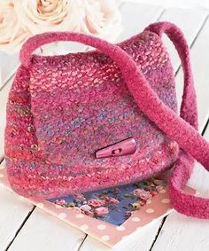 knit and felt saddle bag