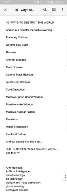 101 ways to destroy the world.