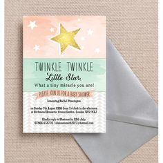 Throw a baby shower in the sweetest way with these Twinkle Stars Baby Shower Invitations. These invites feature a gorgeous pastel spectrum of colours, with geometric shapes and a shining star. The invites can be customised online and can be printed from home with our instant printable PDF, or they can be professionally printed and delivered to your home with free UK shipping.