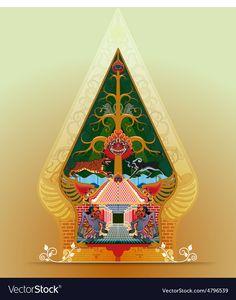 Wayang Gunungan vector image on VectorStock Indonesian Art, Batik Art, Yogyakarta, Religious Art, Tree Of Life, Java, Puppets, Adobe Illustrator, Vector Art