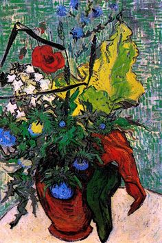 Wild Flowers and Thistles in a Vase, 1890 / Vincent Van Gogh