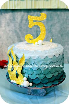 Mermaid Cake - Under the Sea Mermaid DIY Party made by wishes-of-whimsy.blogspot.com for googlyeyesandglitter