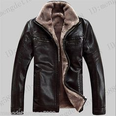 winter Mens Air Force pilot leather fur lining thick jacket coat outwear
