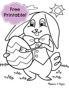 Easter Bunny coloring page (tip: grab some cotton balls and glue to create a colorful, fuzzy friend!)