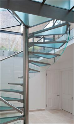 Decoration, Fabulous Glass Spiral Staircase Design With Stainless Steel Pole And Hand Rail Plus Thick Blind Glass Step Foot: Contemporary Ar...