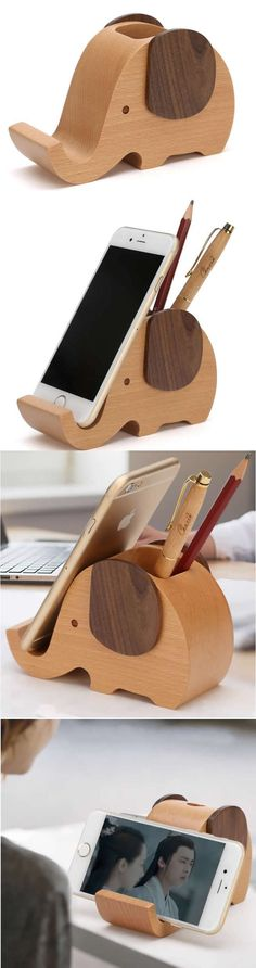 Wooden Elephant Phone Stand Holder Pen Pencil Holder Desk Organizer