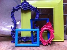 Funky vintage frames. Take old vintage frames and paint them with fun and bright colors!