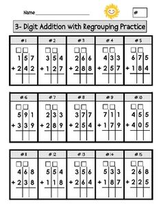 math worksheet : addition with regrouping worksheetsi love that they are on grid  : Regrouping Addition Worksheets