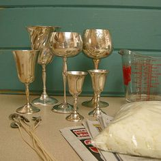 Easy craft project: Make goblet candles    Step 1. After cleaning the goblets with metal polish and a clean cloth, we followed the directions on the package of Microwaveable Soy Wax for Containers (by Yaley; $6.99 for 1 lb.; from