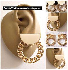 Vintage Earrings, Clip On Earrings, Vintage Jewelry, Gold Jewelry, Women Jewelry, Unique Jewelry, Chain Jewelry, Jewellery, Gold Earrings Designs