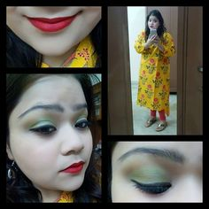 Played with makeup after so long and loved the way it turned up.. PS: I did it few days ago but sharing the pics today.. oh well.. what u guys think?? #hercreativepalace #kannu #ootd #makeup #fotd #lotd #eotd #eyesmakeup #green #macrubywoo #onmylips #traditional #wear #lovedthelook #blogger #youtuber #Delhi #India #kanika #kanikasharma
