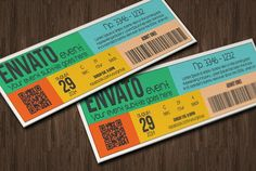 Multipurpose metro style ticket Templates Hello,this is very easy to use event ticket template, ready for edit, it will help you to present y by Tzochko Business Video, Business Brochure, Business Card Logo, Business Flyer, Greeting Card Template, Card Templates, Design Templates, Ticket Design, Flyer Design
