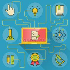 Скачать - Наука и образование Инфографика с компьютером и значки — стоковая иллюстрация #51402965