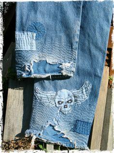 boro jeans hand done