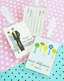 Elite Design Baby Shower Acrylic Luggage Tags. http://www.bluerainbowdesign.com/WeddingFavorProduct.aspx?ProductID=PR090510179836JeKeloXimenaBRD96872=WEDDI=GROUP=WLUGG=pinterest