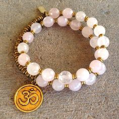Bracelets - Healing, Faceted Pink Quartz 27 Bead Wrap Mala Bracelet™ With Om Charm