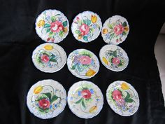 9 Vintage small plates, Hand Painted Ceramic Italy $25 - ebay