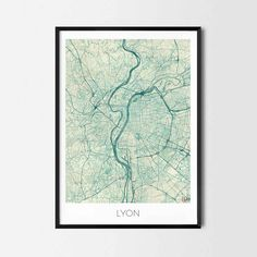 Lyon art posters and prints of your favorite city. Unique map design. Perfect for your house and office or as a gift for friend.