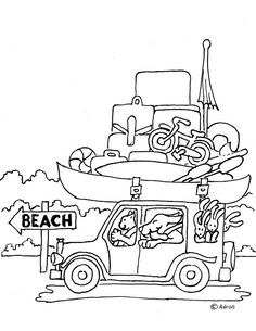 Coloring Pages For Kids By Mr Adron Animal Friends Drive To The Beach