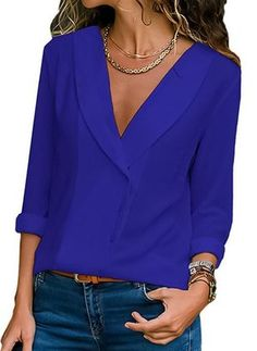 Women Casual Chiffon V Neck Tops – fashiontia V Neck Blouse, Sexy Blouse, Mode Outfits, Casual Outfits, Business Attire, Casual Tops, V Neck Tops, Types Of Sleeves, Blouses For Women