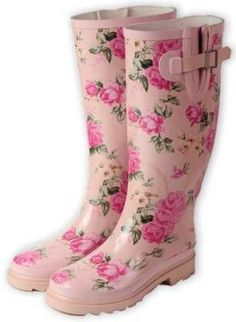 Blushed Rose Wellies A grove of English roses are rendered to the prettiest boots of all. The once-utilitarian English boots have sauntered into a magnificent trend of florals. No longer reserved for rain puddles and gardens, Wellingtons are spotted in boutiques and cafes with flouncy lace skirts.