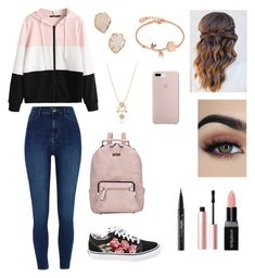 """OOTD #2"" by pinkj3w3l ❤ liked on Polyvore featuring River Island, Vans, Dasein, Smashbox, Too Faced Cosmetics, Kat Von D, Kendra Scott and Disney"