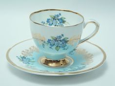 Clare Blue Flower Bouquet Lots of Gold Vintage Demitasse Cup and Saucer Fine Bone China Made in England