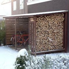 Wood Storage cover hardwood slates for bicycles and firewood Firewood Storage, Bike Storage, Shed Storage, Outdoor Spaces, Outdoor Living, Outdoor Decor, Bike Shelter, Bike Shed, Backyard Sheds