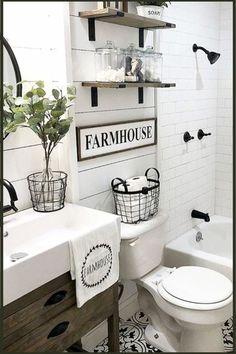 Bathroom Shelves - Beautiful and Easy DIY Bathroom Space Saver Shelving Ideas - Involvery Farmhouse bathroom floating shelves - wanted these floating shelves for my entryway - small foyer decorating is SO hard . Small Bathroom Shelves, Shelves Above Toilet, Simple Bathroom, Bathroom Storage, Light Bathroom, Bathroom Ideas White, Black And White Tiles Bathroom, Bathroom Canvas, White Bathroom Tiles