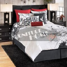 Bird bedding - white, grey and dark red.