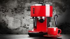 Red espresso machine by gdolgikh Espresso Machine Reviews, Popcorn Maker, Beverages, About Me Blog, Coffee, Amazing, Foodie, History Of Tea, Tea Parties